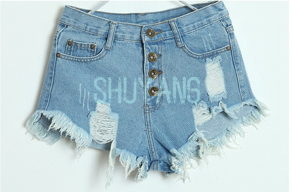 New Arrival Free Shipping 2014 New European Fashion Women Vintage High Waist Ripped Denim Shorts Casual Jeans Plus Size-in Shorts from Apparel & Accessories on Aliexpress.com