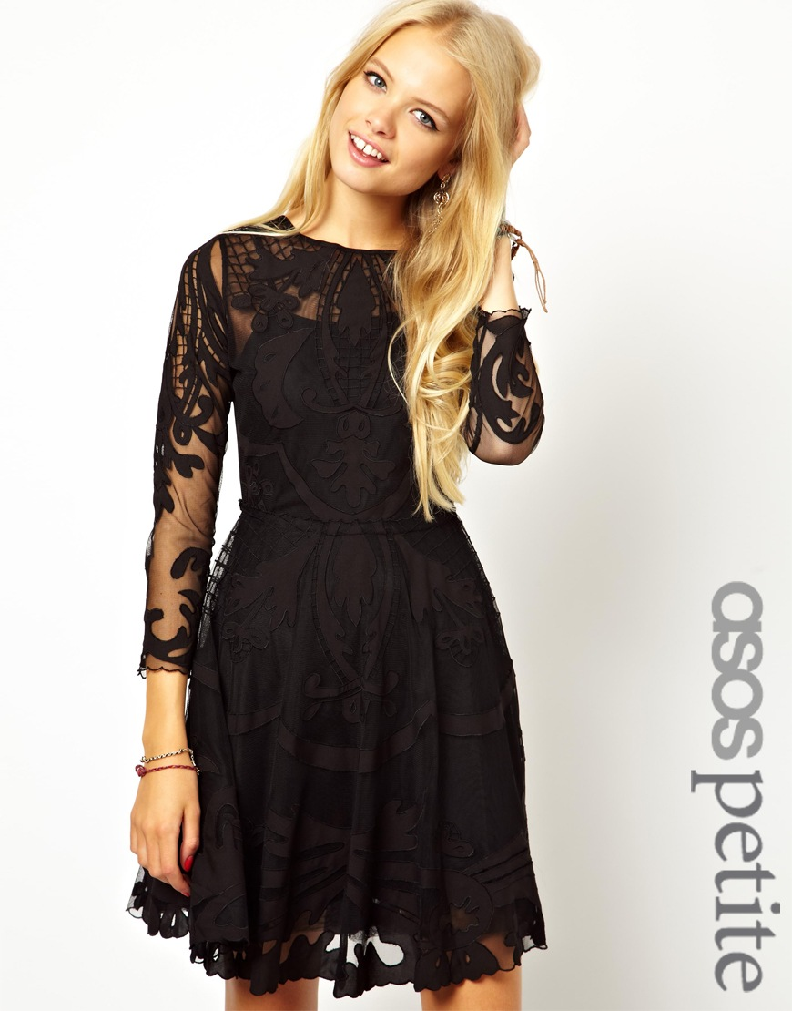 ASOS PETITE Exclusive Premium Applique Mesh Skater Dress at asos.com
