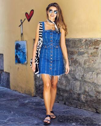 dress tumblr mini dress denim denim dress button up sandals flat sandals bag sunglasses
