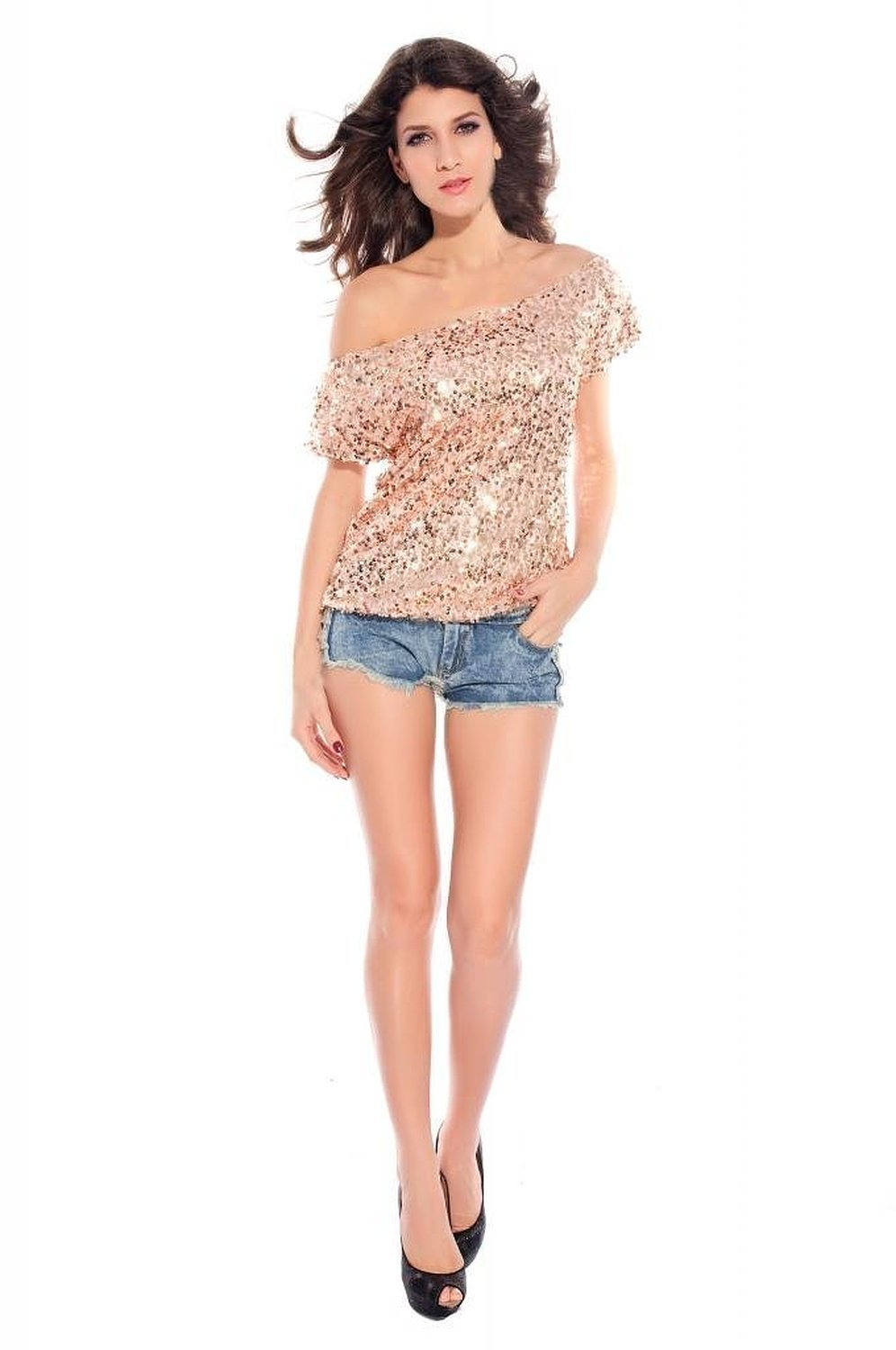 Shoulder glistening sequin top (pink) at amazon women's clothing store: