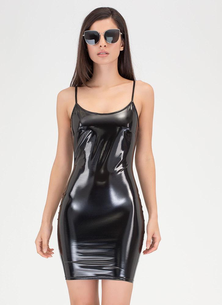 Over Faux Patent Mini Dress Gojane