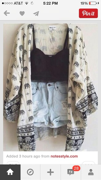 blouse cardigan elephant kimono mandala kimono white elephant top boho shorts