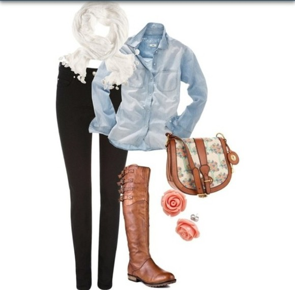 white shirt denim denim shirt black pants jeans black pants black jeans scarf white scarf boots brown brown boots purse