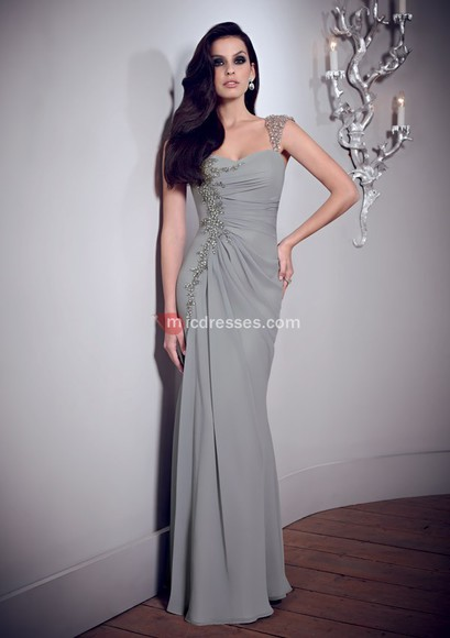 a-line floor chiffon square beading ruched mother of the bride dresses