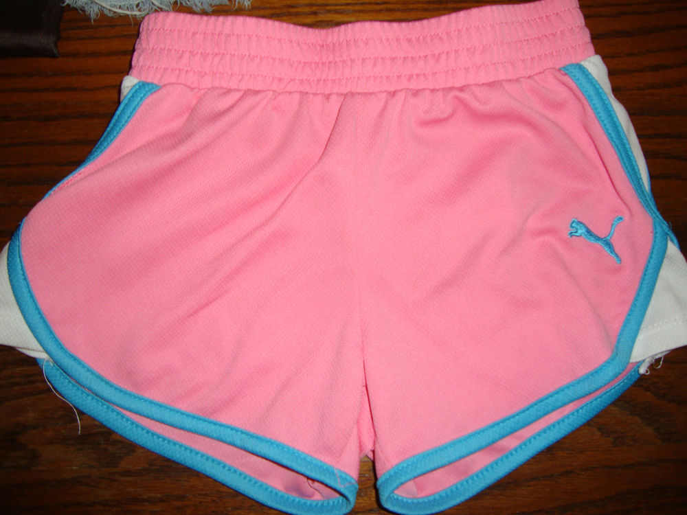 8c3872acd GIRLS PUMA ATHLETIC SHORTS PINK BLUE SIZE 4 KID YOUTH CHILDREN