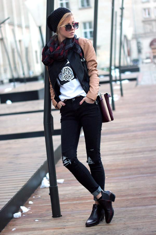 sirma markova jacket t-shirt jeans hat jewels scarf sunglasses shoes