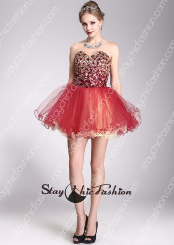 red short dress red gold dress red beaded dress red lace up back dress red prom dress red homecoming dress red cocktail dress red party dress