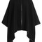 Wool cape with leather trim