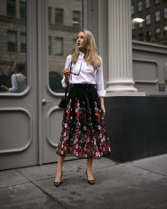 the classy cubicle blogger skirt shirt shoes jacket bag midi skirt spring outfits pumps