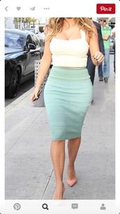 skirt,kim kardashian,mint,green skirt,bodycon skirt,nude top,white top,crop tops,kardashians