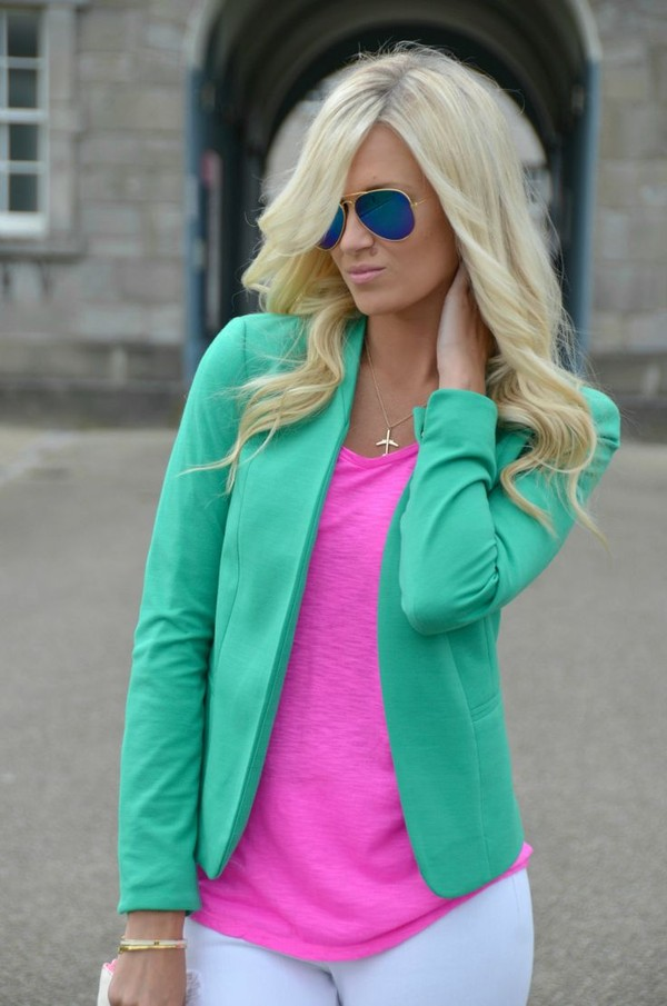 jacket neon girly blonde hair