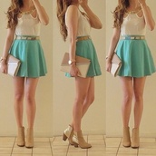 dress,beautiful,sweater,skirt,red dress,hipster,swag,cute,short,short dress,cute dress,blue,white,collar,teal skirt,shoes