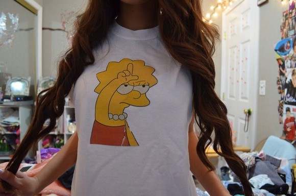 white cartoon white crop tops tumblr shirt loser shirt cute summer outfits jeans t-shirt simpsons shirt loser cute lisa simpsons