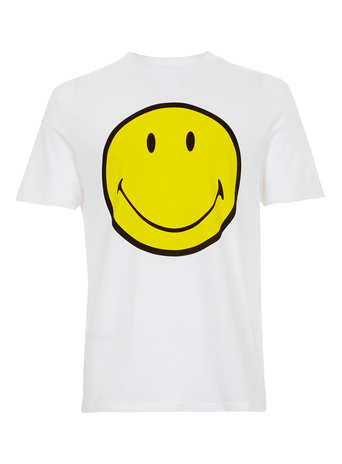 WHITE SMILEY LOW ROLL T-SHIRT - Men's T-Shirts & Vests  - Clothing  - TOPMAN
