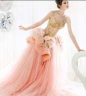 dress,beautiful,gold,flowy,baby pink,powder pink,delicate,elegant,feminine,gorgeous,pretty,get it for me,ruffle,big skirt,long,lace,sequins
