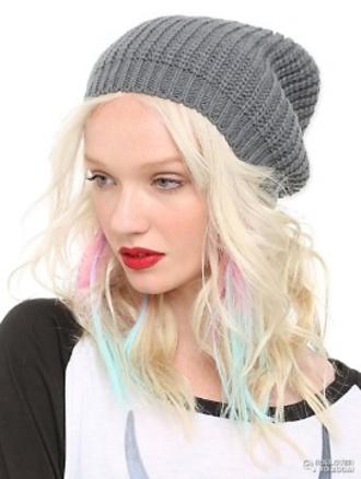 hat grey beanie platinum hair pastel pink light blue warmth