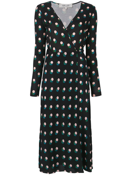 Dvf Diane Von Furstenberg dress print dress women polka dots print black silk