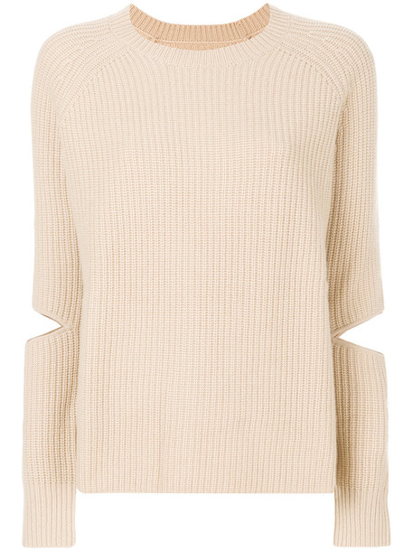 Zoe Jordan jumper cut-out women nude wool sweater