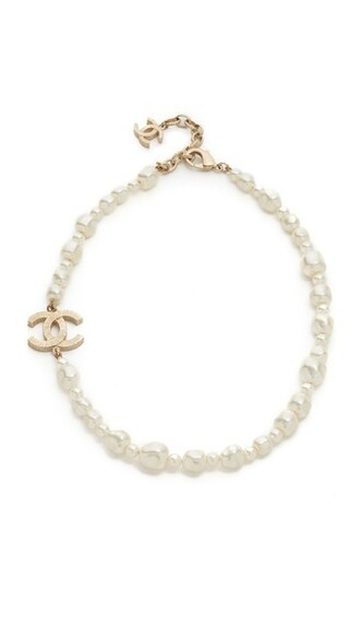 pearl necklace gold white jewels