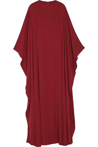 gown silk burgundy dress