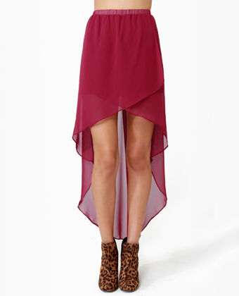 2ecf668bae A Hot Summer: Cute High-Low Skirt - Wine Red Skirt - Tulip Skirt -  Burgundy... - Socialbliss