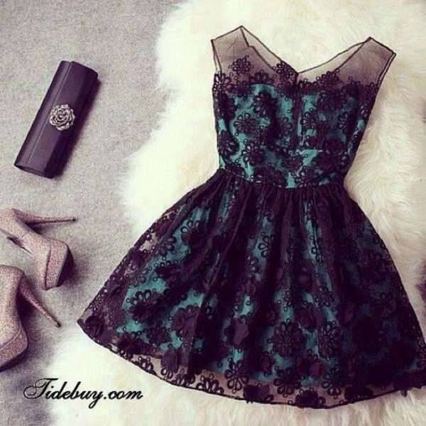 dress print green and black