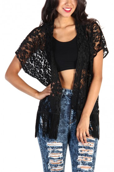 LoveMelrose.com From Harry & Molly | Sheer Lace Fringe Kimono - Black