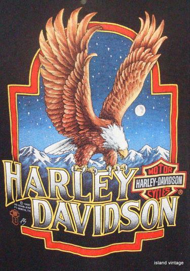 Vintage 3D emblem 87' Harley Davidson eagle t shirt