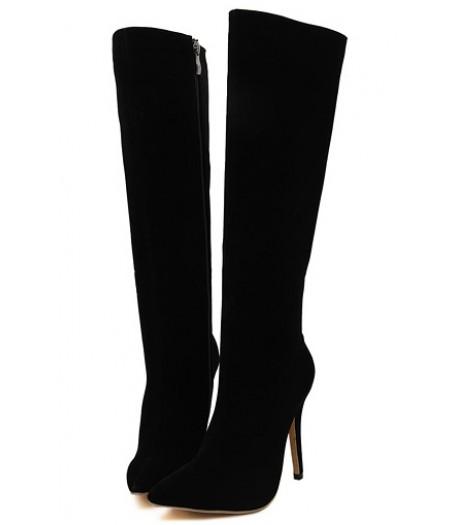 Black knee high high heel boots