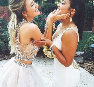 dress white sparkle matching skirt and top prom prom beauty