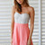 Coral Jump Suits/Rompers - Coral playsuit with lace bodice | UsTrendy