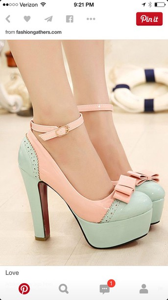 shoes sea foam blue and pink or peah mint green shoes pink heels