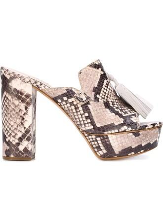 tassel women mules leather black shoes