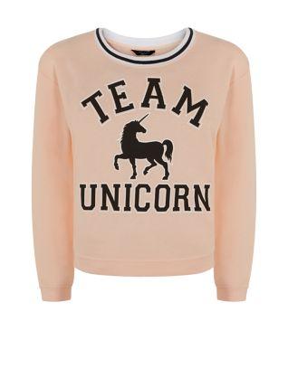 Teens pink team unicorn sweater
