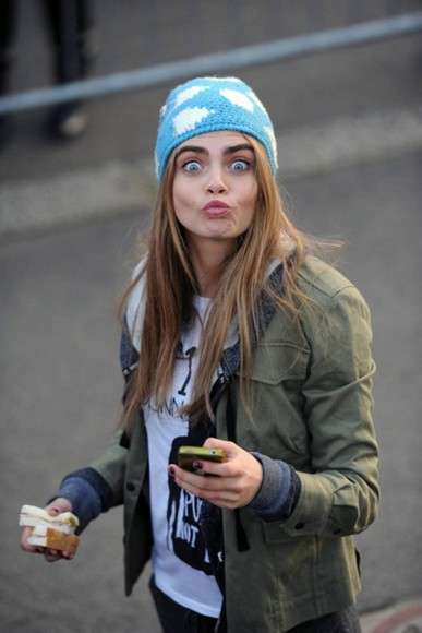 model cloud beanie clouds blue white cara delevingne delevingne jacket