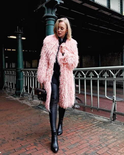 8c4962f4559c coat tumblr pink coat fur coat faux fur coat sweater black sweater  sunglasses clear lens sunglasses
