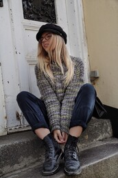 sweater,flat boots,glasses,tumblr,multicolor,printed sweater,denim,jeans,black jeans,boots,black boots,biker boots,hat,fisherman cap