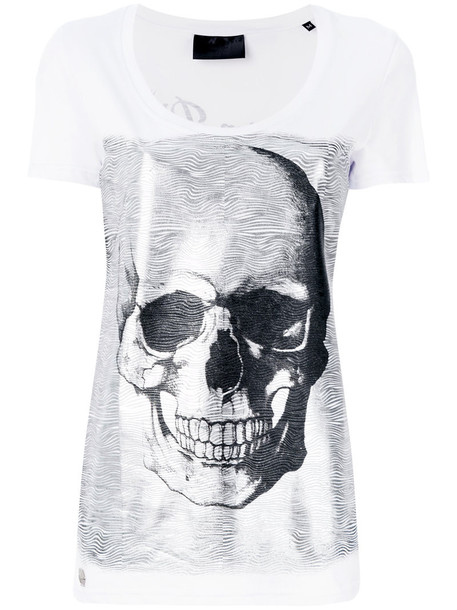 t-shirt shirt t-shirt skull women white cotton print top
