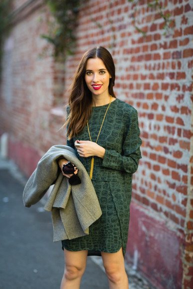jacket green dress forest green long sleeve dress blogger bag m loves m jewels sunglasses make-up crocodile