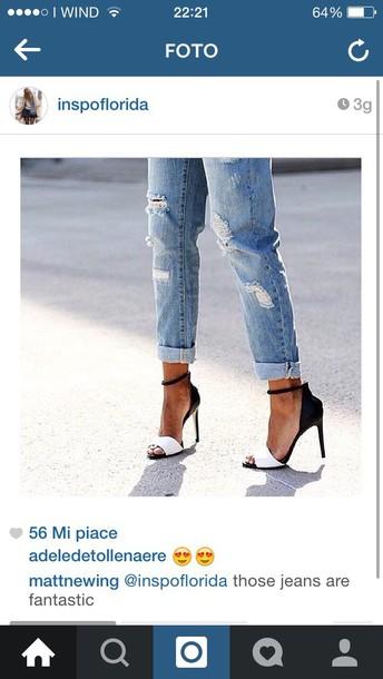 shoes heels sandals b&w denim jeans