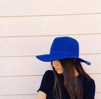 blue hat floppy hat