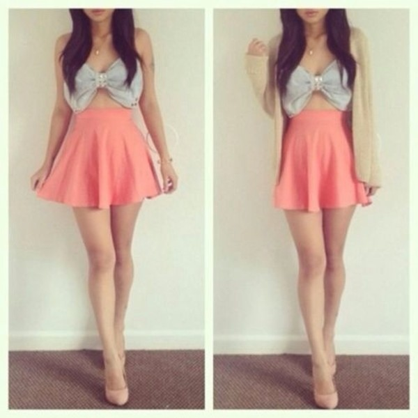 tank top skirt shoes
