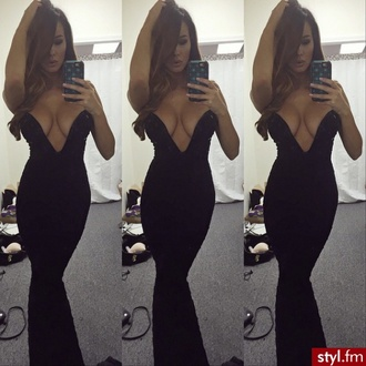dress clevage boobs boob dress sexy dress mermaid mermaid dress black mermaid dress girl women women dress little black dress long dress floor length dress floor length