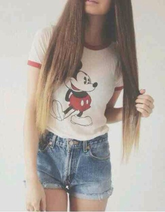 t-shirt top white red disney mickey mouse mouse tumblr cute girl teenagers walt world land disneyland disneyworld summer spring beach sun sunny