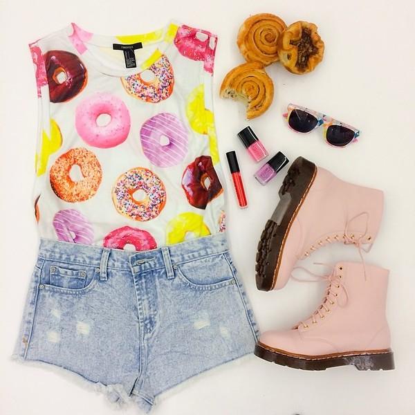 shoes shirt sunglasses shorts donut
