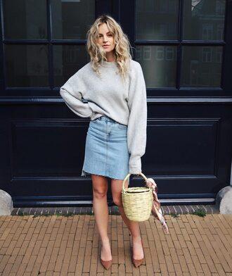 skirt denim skirt brown flats basket blogger grey oversized sweater