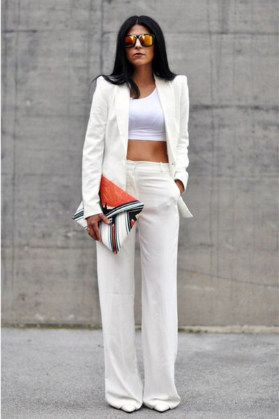 pants white high waist wide-leg pants palazzo pants white white t-shirt white top white jeans jacket