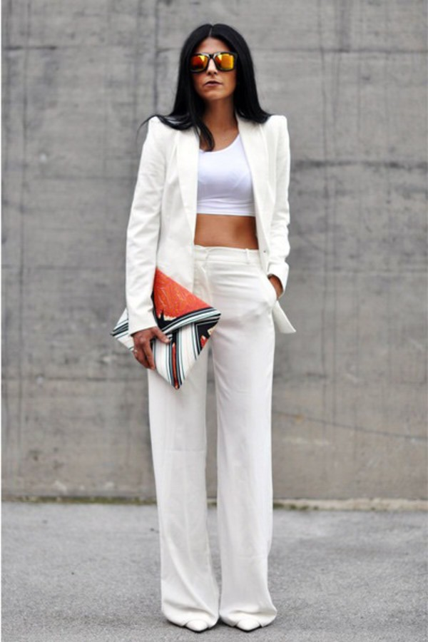 Pants: white high waist, wide-leg pants, palazzo pants, white ...