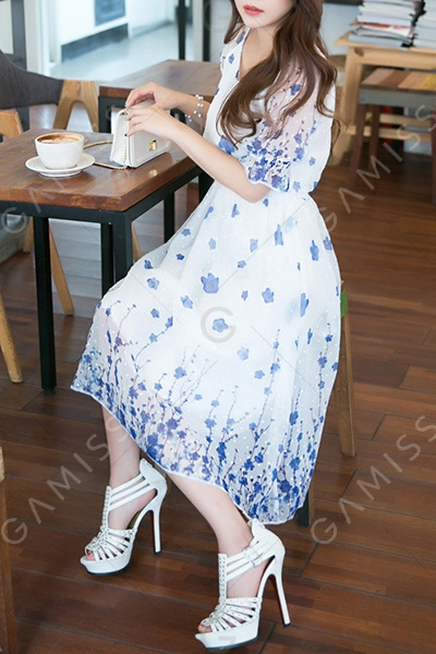 Casual Scoop Collar Half Sleeve Blue Flower Print Dress For Women