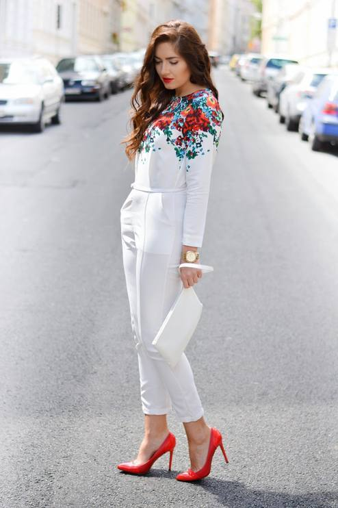 Floral shoulder jumpsuit